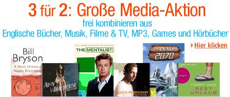 3 für 2: Große Media-Spar-Aktion bei Amazon.de
