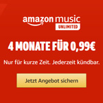 Amazon Music Unlimited: 4 Monate für nur 0,99€!