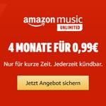 Amazon Music Unlimited: 4 Monate für nur 0,99€!