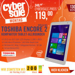Cyber Monday Sale bei Cyberport: Toshiba Encore 2 Tablet für 119 Euro statt 249 Euro