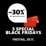 3 SPECIAL BLACK FRIDAYS: Sicher dir -30% mit der Manor Karte