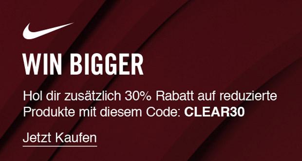 win bigger mit nike hol dir jetzt 30 extrarabatt auf alle saleartikel black. Black Bedroom Furniture Sets. Home Design Ideas