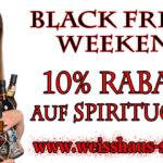 Das Spirituosen Black Friday Weekend: Bis Sonntag 10 Prozent auf ALLES im Weisshaus Shop