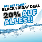 Nur heute 20% Rabatt auf alle Alb Dusch- oder Trinkwasserfilter