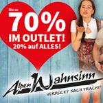 Bis zu 70% Rabatt im Outlett und 20% Rabatt auf alles im Trachtenshop von Alpenwahnsinn!