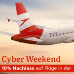 Austrian Airlines Cyber Weekend Special: 10% Rabatt auf Flüge in der Economy Class