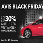 Spare jetzt bis zu 30% auf deinen Mietwagen mit dem Avis Black Friday Angebot.