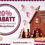Spare jetzt 20% auf alle Artikel zum Thema Weihnachten im Online-Shop von Backfreunde.de!