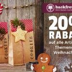 20% Rabatt auf alles rund um das Thema Weihnachten bei backfreunde.de