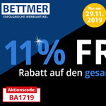 Blue Friday bei Bettmer – 11% Rabatt auf das gesamte Werbeartikel-Sortiment