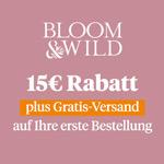15 Euro Rabatt auf handgebundenen Blumensträuße oder Kreativ-Blumenboxen von Bloom & Wild