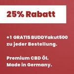 25% auf CBD made in Germany plus 1 gratis BUDDYakut 500