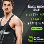 Sicher dir jetz 25% Extra Rabatt und einen gratis Shaker bei BULK POWDERS®