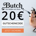 Nur heute 20 Euro Rabatt auf deine Bestellung von Küchenutensilien im Store von Butch