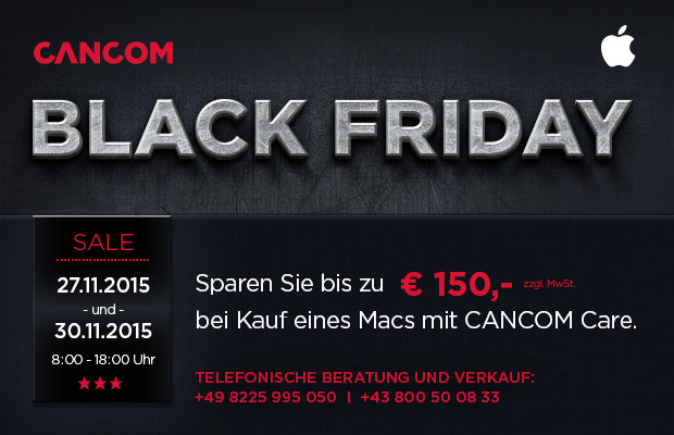 der cancom black friday deal spare jetzt bis zu 150 bei kauf eines macs mit cancom care. Black Bedroom Furniture Sets. Home Design Ideas