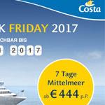 Costa Black Friday 2017 – Mittelmeer Kreuzfahrten schon ab 444,- EURO pro Person