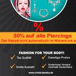 Nur für kurze Zeit: 30% auf alle Piercings bei Cristal Jewelry