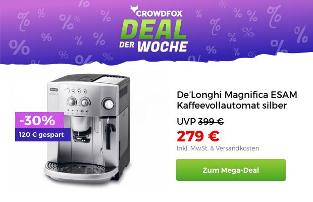 bestelle jetzt den de longhi kaffeevollautomat und spare volle 120 bei crowdfox black. Black Bedroom Furniture Sets. Home Design Ideas