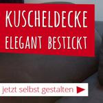 Jetzt Kuscheldecke selbst gestalten und 15% sparen bei Direkt-Stick.de