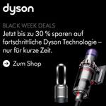 Jetzt bis zu 30% sparen. Black Week Deals bei DYSON nur bis zum 06. Dezember 2019
