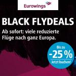 BLACK FLYDEALS bei Eurowings | 2 Mio. reduzierte Tickets | 25% Rabatt auf viele Flüge nach ganz Europa
