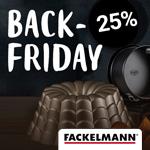 Back Friday bei Fackelmann. Spare 25% auf das komplette Sortiment rund ums Kochen und Backen