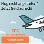 Sicher dir 20% extra auf die Auszahlungssumme deiner Flugstornierung bei Geld-fuer-Flug.de