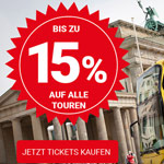 Bis zu 15% Rabatt auf alle Hop On Hop Off Sightseeing Bustouren in Berlin.