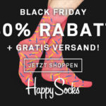 Black Friday / Cyber Monday Wochenende bei Happy Socks: 40% Rabatt + gratis Versand