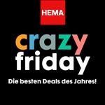 Hema feiert den crazy Friday gleich eine ganze Woche lang mit bis zu 50% Rabatt auf ausgewählte Artikel