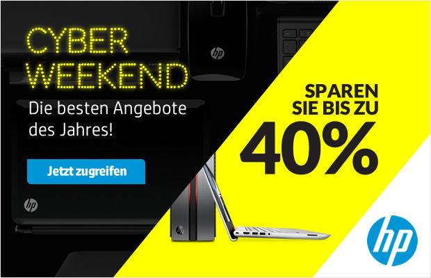 cyber weekend bei hp 4 tage lang bis zu 40 rabatt auf zubeh r notebooks drucker uvm black. Black Bedroom Furniture Sets. Home Design Ideas
