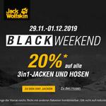 Black Weekend bei Jack Wolfskin – Spare jetzt 20% auf 3in1-Jacken und Hosen