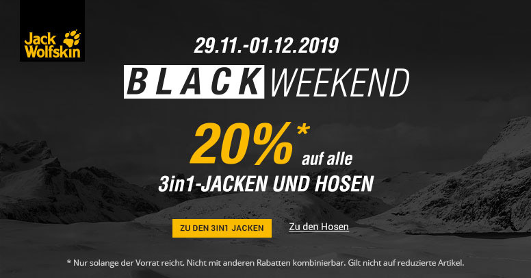Jack Wolfskin Black Weekend 2019