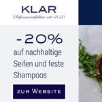 Black Friday Deal: 20% Rabatt auf nachhaltige Seifen und feste Shampoos von Klar Seifenmanufaktur