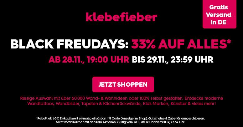 BLACK FREUDAYS bei Klebefieber.de – 33% auf alles! | Black ...