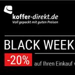 20% Rabatt zum Black Weekend Sale im Shop von Koffer-Direkt.de