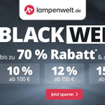 Black Week – Bis zu 70 % Rabatt & weitere tolle Deals bei Lampenwelt!