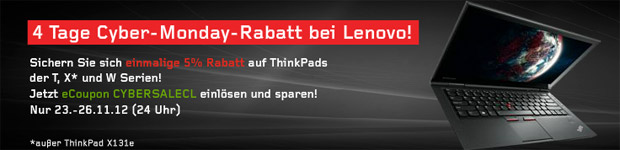 Lenovo Cyber Monday Angebote: 5% Rabatt auf ThinkPad Notebooks