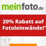 Erhalte 20% Rabatt auf individuelle Fotoleinwände von meinfoto.de