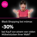 Black Shopping bei mömax – 30% Rabatt auf ein Möbelstück deiner Wahl
