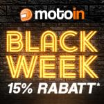 Sichere dir in der motoin Black Week einzigartige 15% Rabatt auf Alles, auch auf reduzierte Artikel.