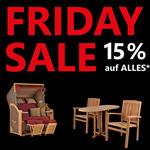 Strandkörbe, Teakmöbel oder Rattanmöbel, bei Mr Deko gibt es zum Friday Sale 15% auf alles