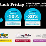 Black Friday KombiShopping: Bis zu 20% Rabatt + Gratis Versand bei myToys, mirapodo und ambellis