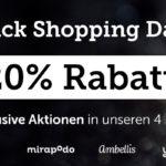 "Spare jetzt mit den ""Black Shopping Days"" bei myToys, mirapodo, ambellis und yomonda"