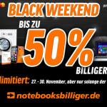 Sicher dir noch bis Montag bis zu 50% Rabatt beim Black Weekend von notebooksbilliger!