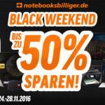 Feier jetzt das Black Weekend bei notebooksbilliger.de mit bis zu 50% Rabatt