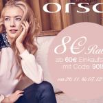 8 Euro Rabatt ab einem Einkaufswert von 60 Euro bei Orsay!