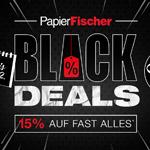 Black Deals bei Papier Fischer: 15% auf fast ALLES und bis 60% auf ausgewählte Schreibgeräte und Accessoires