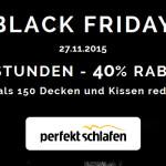 24 Stunden – 40% Rabatt auf mehr als 150 Decken und Kissen im Shop von perfekt-schlafen.de!