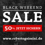 Großer Black Weekend Sale bei Roberto Geissini. 50% Rabatt auf fast alles!